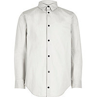 Boys light grey popper shirt