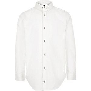 Boys white textured collar shirt