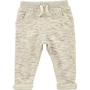 Pantalon de jogging crème chiné mini garçon