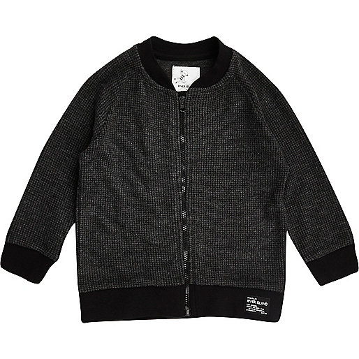 Mini boys grey soft bomber jacket