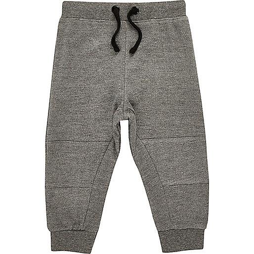 Mini boys grey seamed joggers