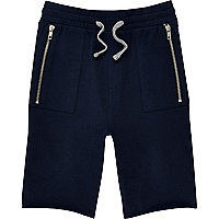 Boys navy dropped crotch shorts