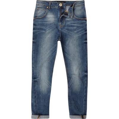 Tony MIddenblauwe wash slouch-fit jeans voor jongens