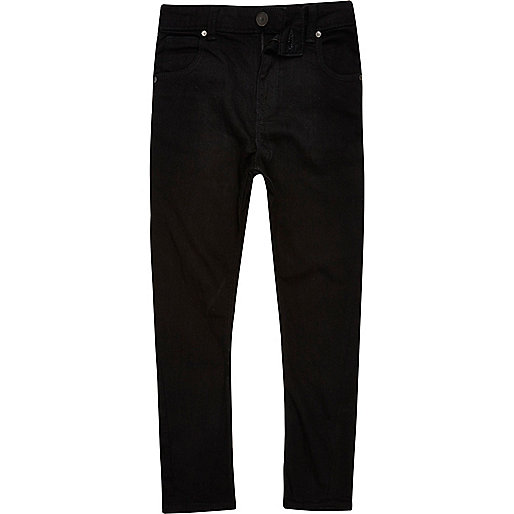 Black denim Super skinny fit Five pockets Belt loops Adjustable waist.