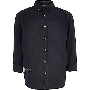 Boys navy button-up shirt