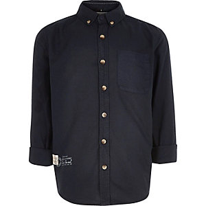 Boys navy button-up shirt