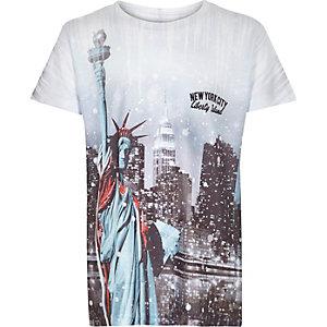 T-shirt de Noël New York blanc pour garçon