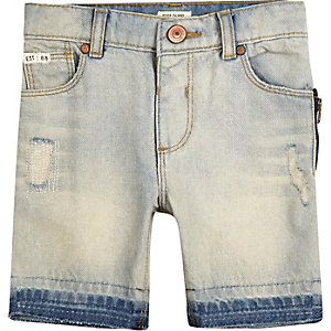 Mini boys light blue wash denim shorts
