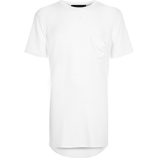 Boys white scoop longline t-shirt