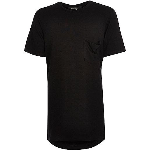 T-shirt long noir à encolure dégagée pour garçon