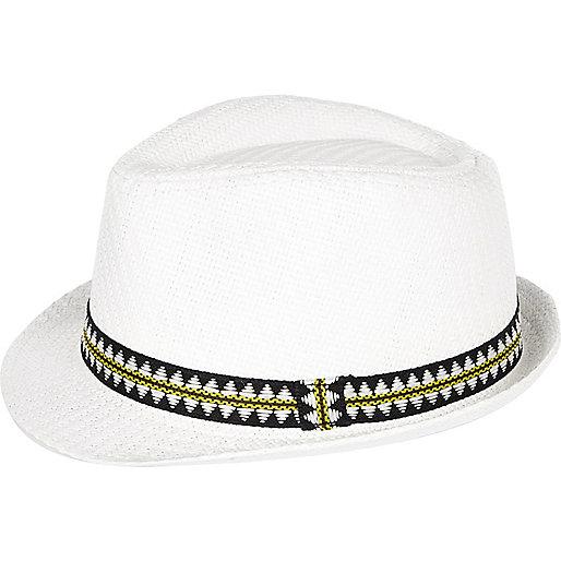 Chapeau trilby en paille blanc mini garçon