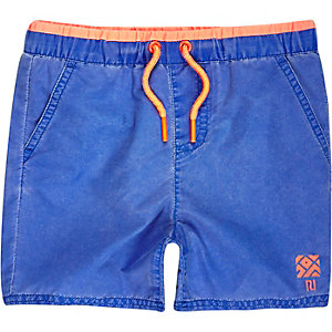 Mini boys faded blue swim trunks