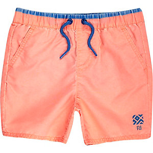 Mini boys orange swim trunks
