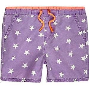 Mini boys purple star swim shorts