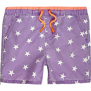 Mini boys purple star swim trunks