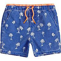 Mini boys blue palm tree print swim shorts