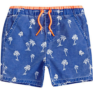 Mini boys blue palm tree print swim trunks