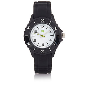 Boys black rubber sporty watch