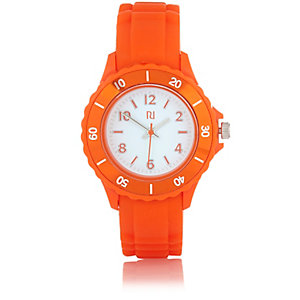 Boys orange rubber sporty watch