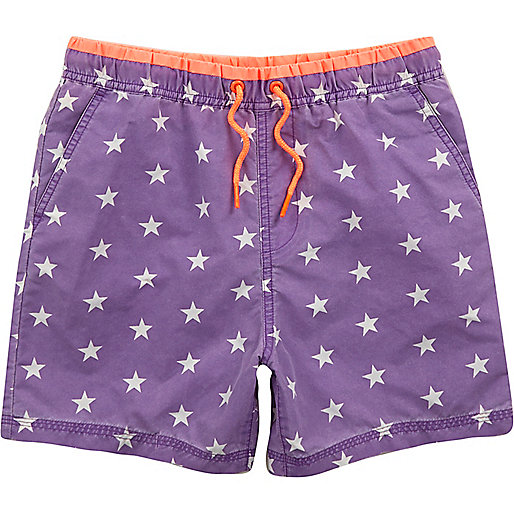 Boys purple star print swim trunks
