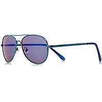 Blaue Pilotensonnenbrille