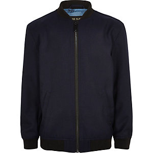 Boys navy jersey bomber jacket