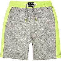 Mini boys grey lime shorts