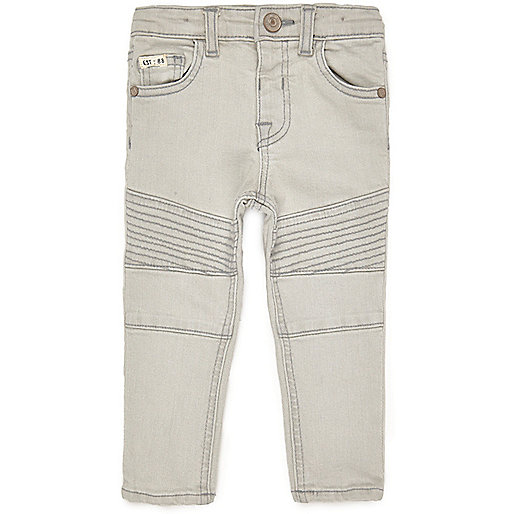 Mini boys light grey biker skinny jeans