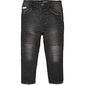 Mini boys black biker skinny jeans