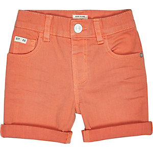 Mini boys orange denim skinny shorts