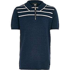 Boys navy stripe knitted zip polo shirt