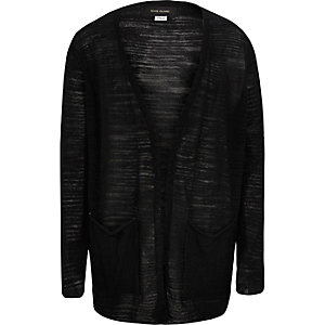 Boys black slouchy cardigan