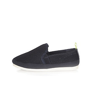 Boys navy mesh pumps