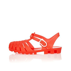 Mini boys red flat jelly sandals