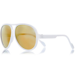 Mini boys white aviator-style sunglasses