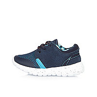 Mini boys blue denim trainers