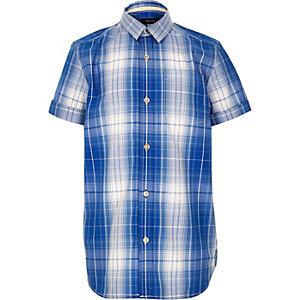 Boys blue checked short sleeve shirt