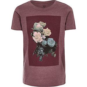 Boys red floral print t-shirt