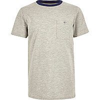 Boys grey contrast neck T-shirt