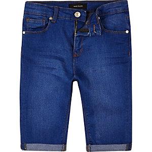 Boys blue skinny denim shorts