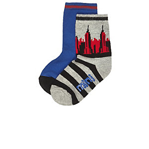 Mini boys grey print socks multipack
