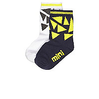 Mini boys black geometric socks multipack