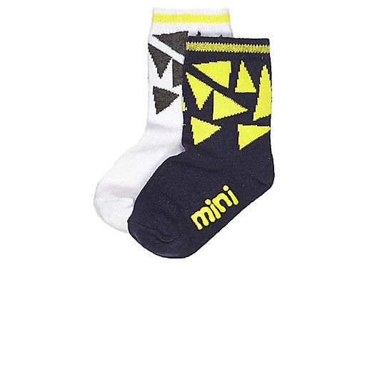 Mini boys black geometric socks multipack