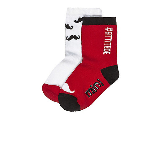 Mini boys red socks multipack