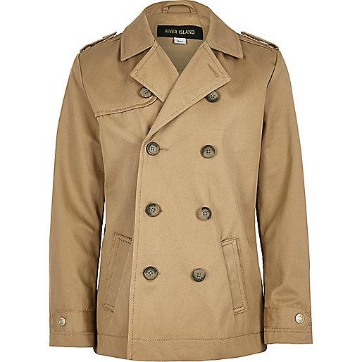 Boys stone traditional mac coat