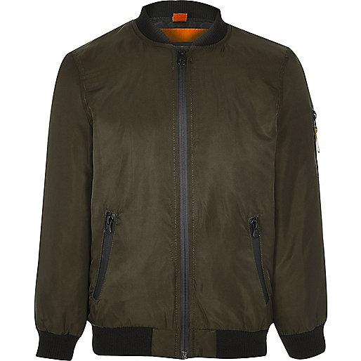 Boys khaki green padded bomber jacket