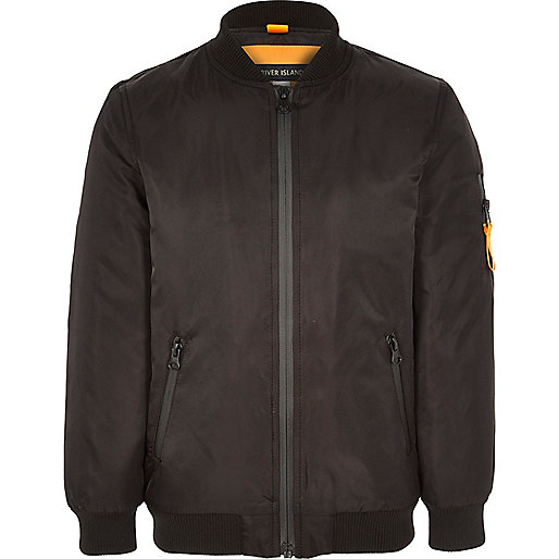 Boys black padded bomber jacket