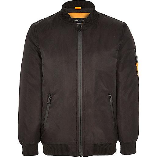 Boys black padded bomber jacket