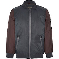 Boys red color block padded bomber jacket
