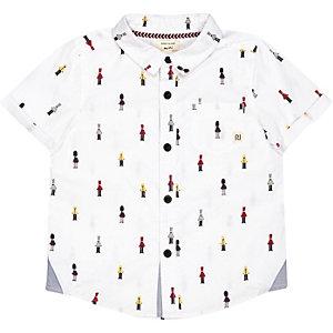 Mini boys white soldier print shirt